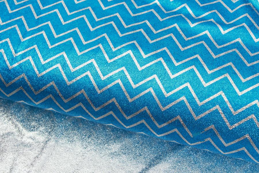 Бумага упаковочная, Зигзаги, серебристо-синий, 70х50 см