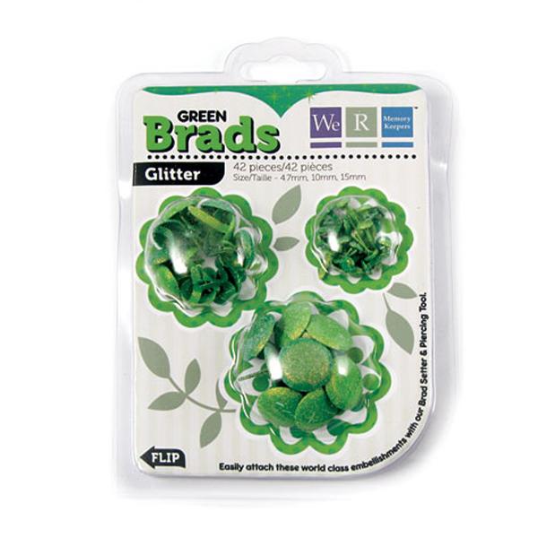 Брадсы Basic Brads Glitter - Green от We R Memory Keepers