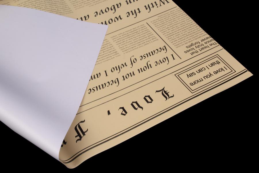 Бумага-калька с газетным принтом, серый, 60х60 см
