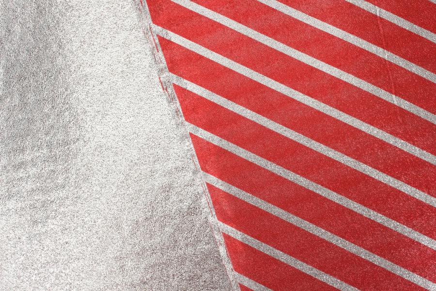 Бумага упаковочная, Полоска, красно-серебристая, 70х50 см