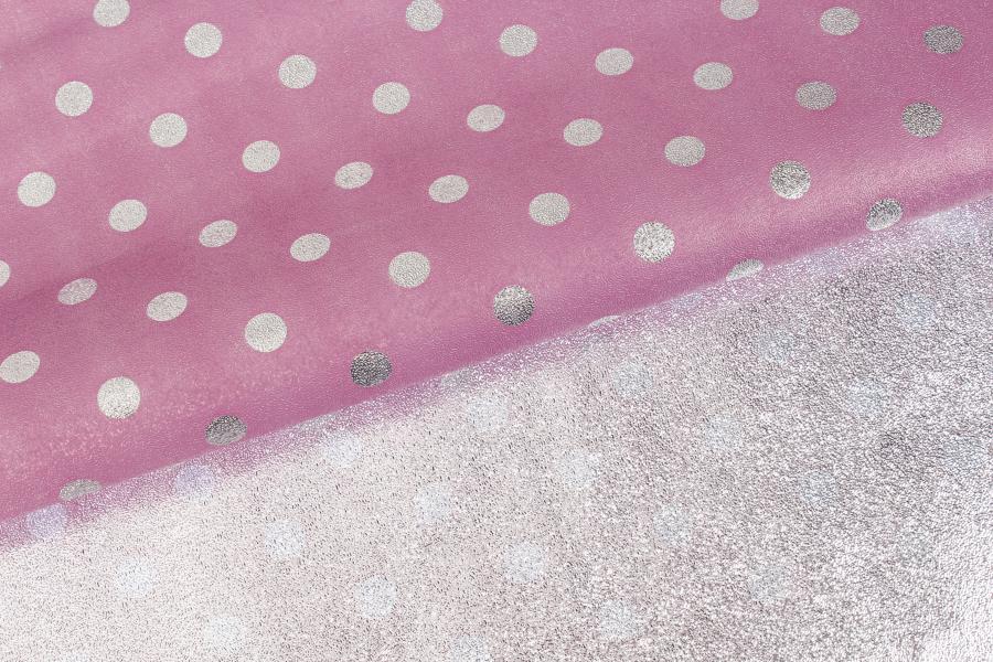 Бумага упаковочная, Горошек, розово-серебристый, 70х50 см