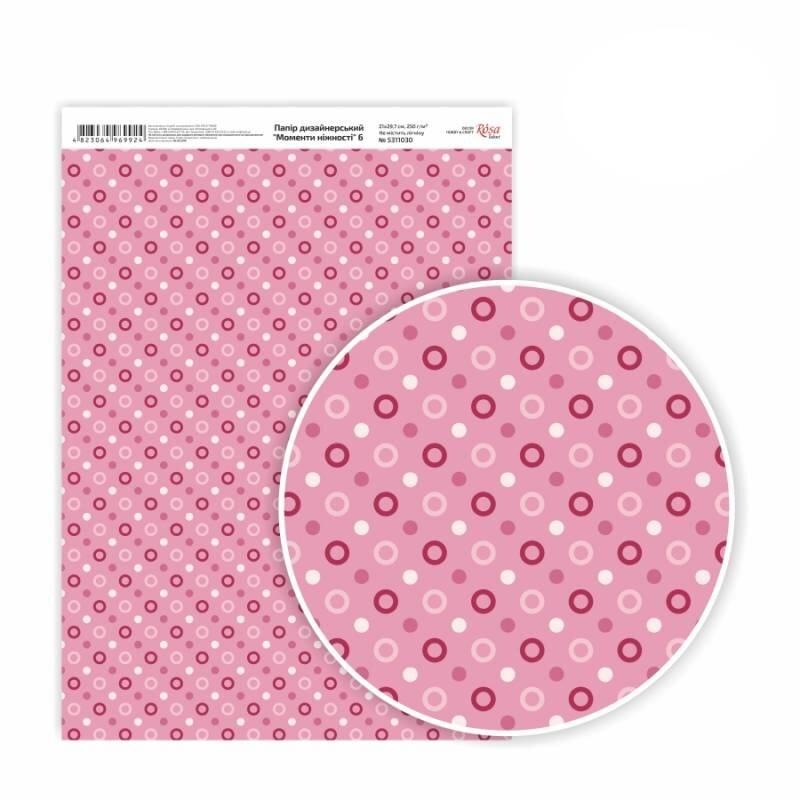 Бумага дизайнерская односторонняя Моменты нежности 6, 21х29,7 см, глянцевый, 250 г / м2, ROSA TALENT