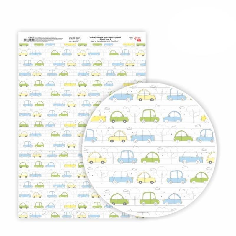 Бумага дизайнерская односторонняя Sweet Boy 5, 21х29,7 см, глянцевый, 250 г / м2, ROSA TALENT