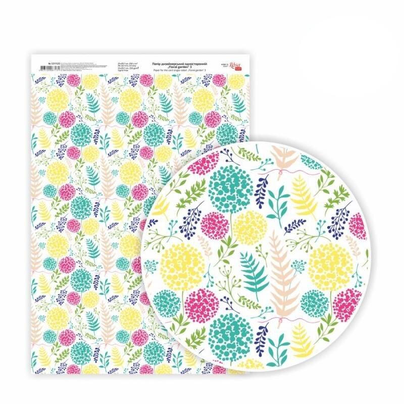 Бумага дизайнерская односторонняя Floral garden 3, 21х29,7 см, глянцевый, 250 г / м2, ROSA TALENT