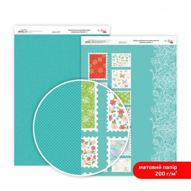 Бумага дизайнерская двусторонняя матовая, Нежность цветов 4, 21х29,7 см, 200 г/м2, Rosa Talent