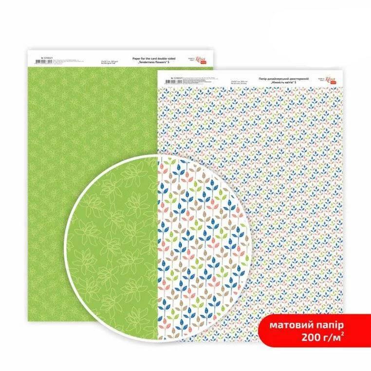 Бумага дизайнерская двусторонняя матовая, Нежность цветов 5, 21х29,7 см, 200 г/м2, Rosa Talent