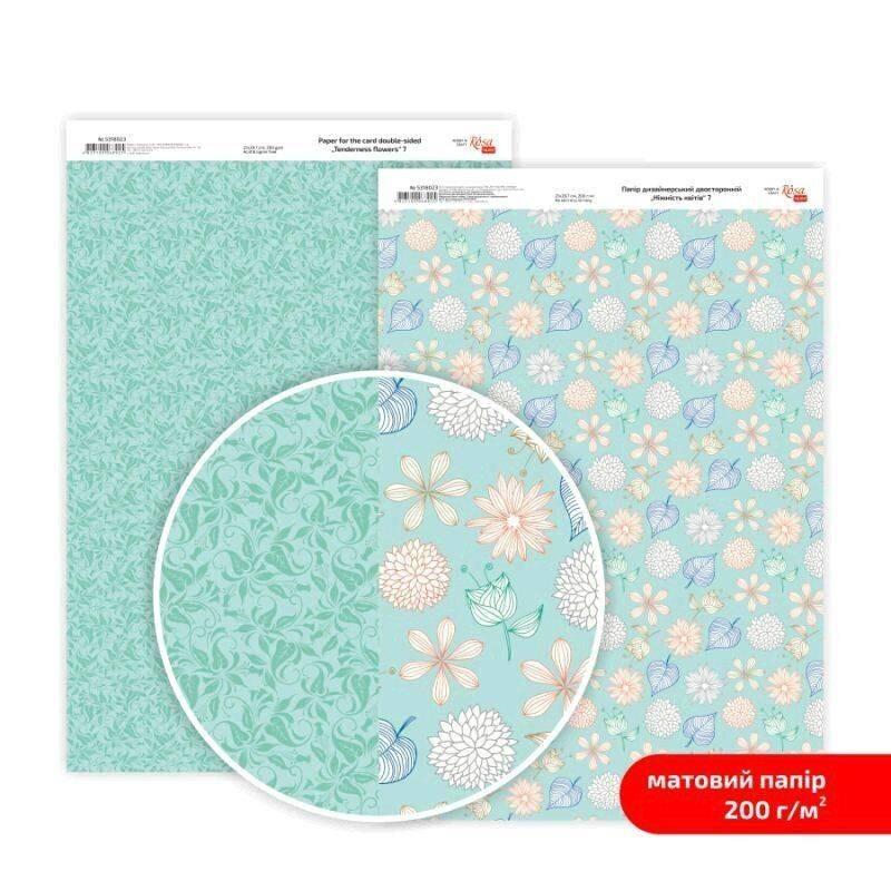 Бумага дизайнерская двусторонняя матовая, Нежность цветов 7, 21х29,7 см, 200 г/м2, Rosa Talent