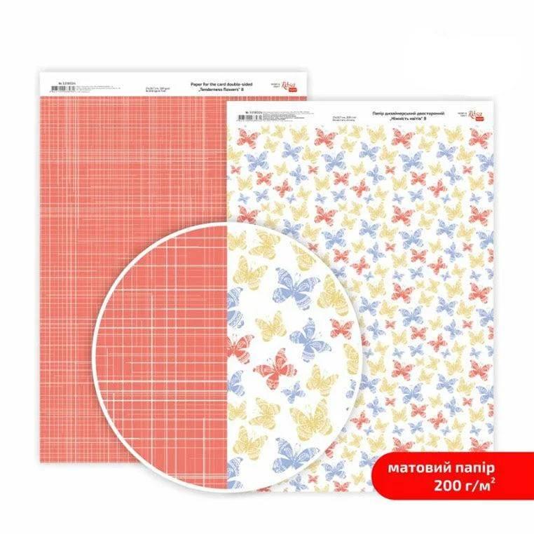 Бумага дизайнерская двусторонняя матовая, Нежность цветов 8, 21х29,7 см, 200 г/м2, Rosa Talent