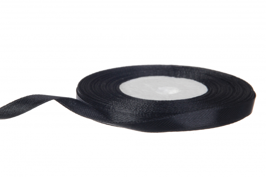 Атласная лента, рулон, #39, черный, 7 мм, 23 м