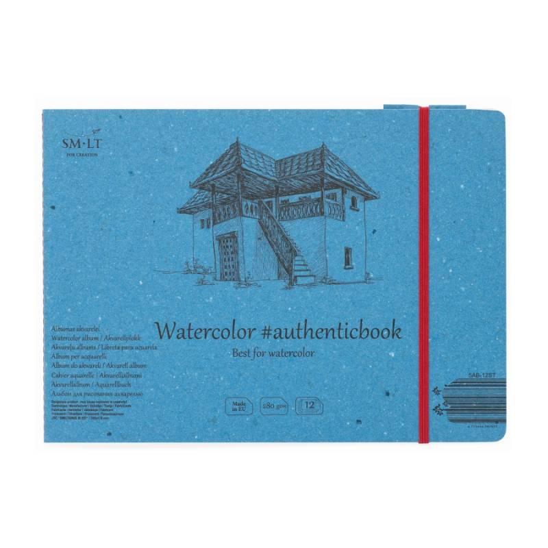 Альбом для акварели, Authentic А5,12 л, 280г/м2, 24,5*17,6 см, Smiltainis