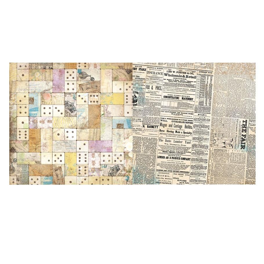 Двусторонняя бумага для скрапбукинга Domino 30х30 см от Bo Bunny