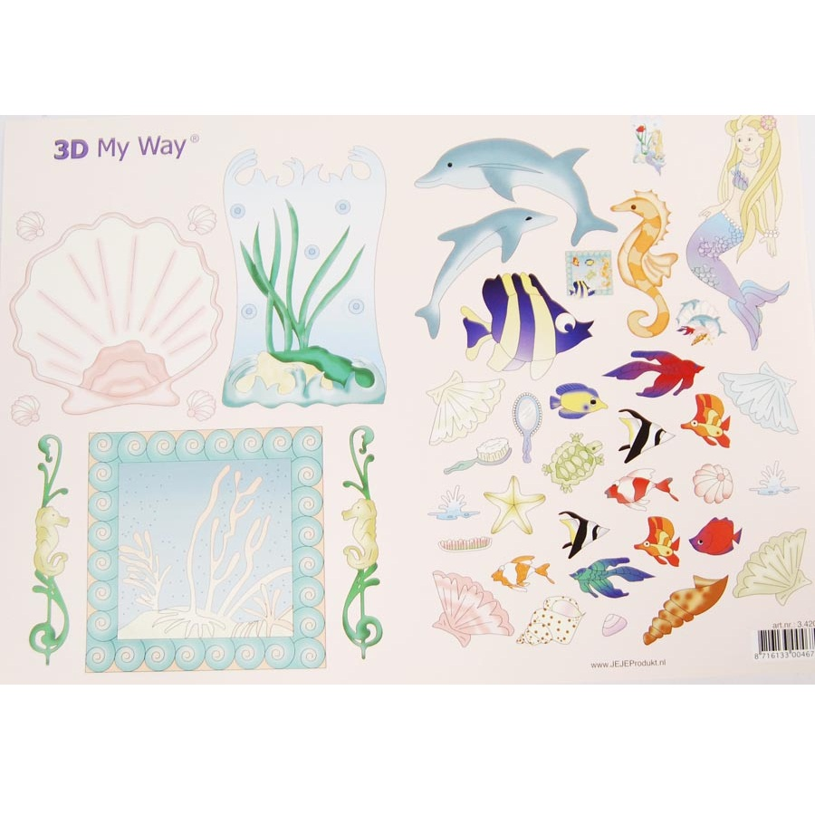 "Бумага для декупажа ""Морской мир"" 21х29,7 см от компании JeJe Products"
