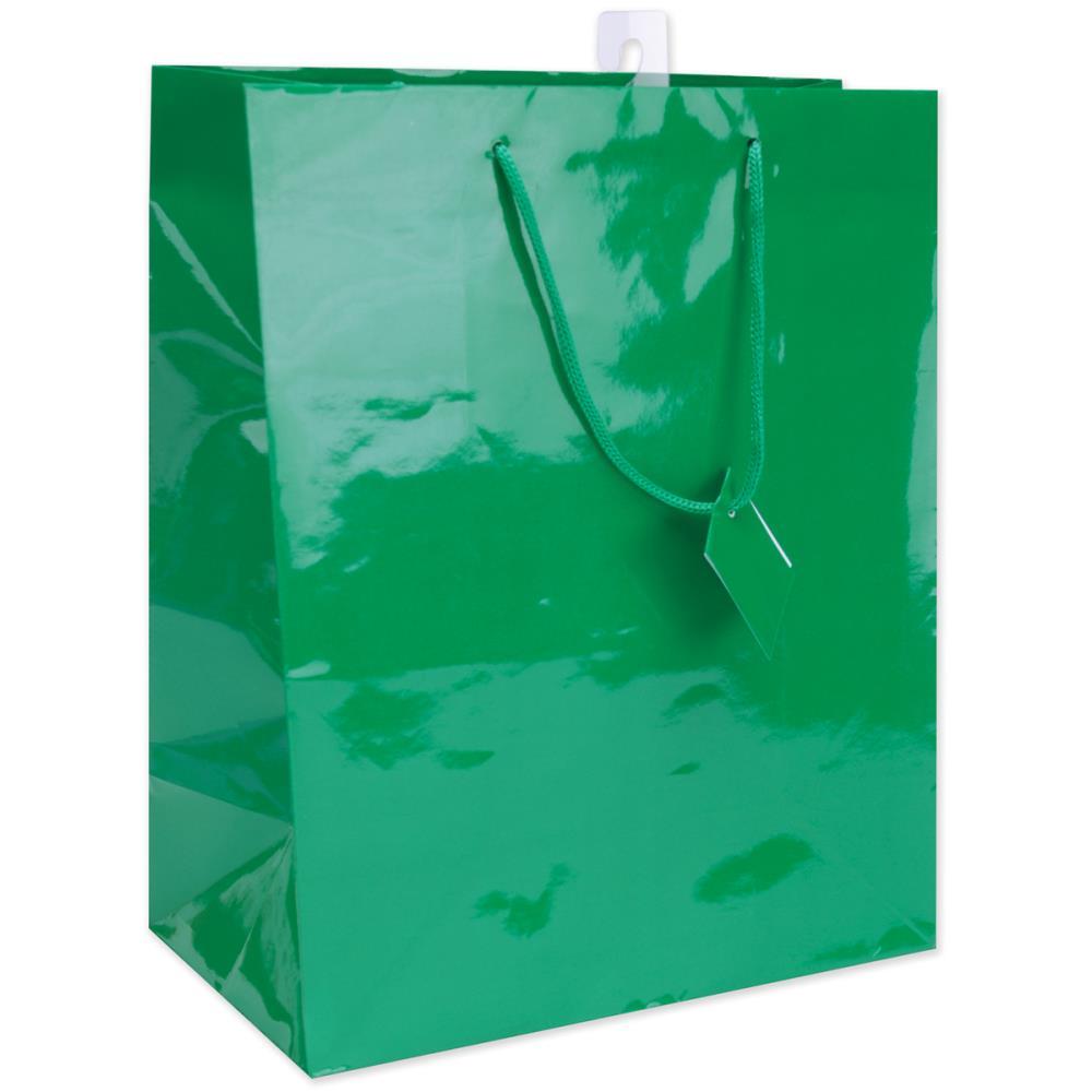 Пакет подарочный глянцевый 26х31 см, ручки лента, зеленый