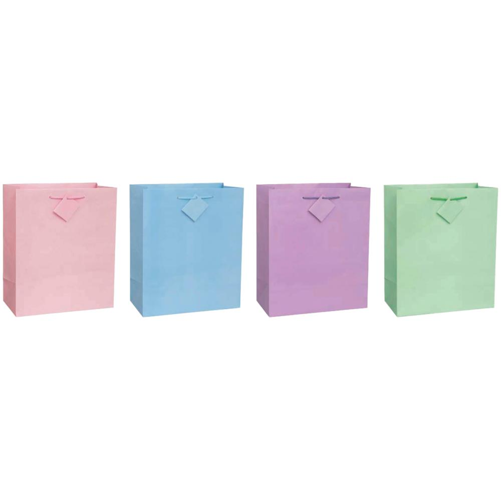 Пакет подарочный глянцевый 26х31 см, ручки лента, розовый