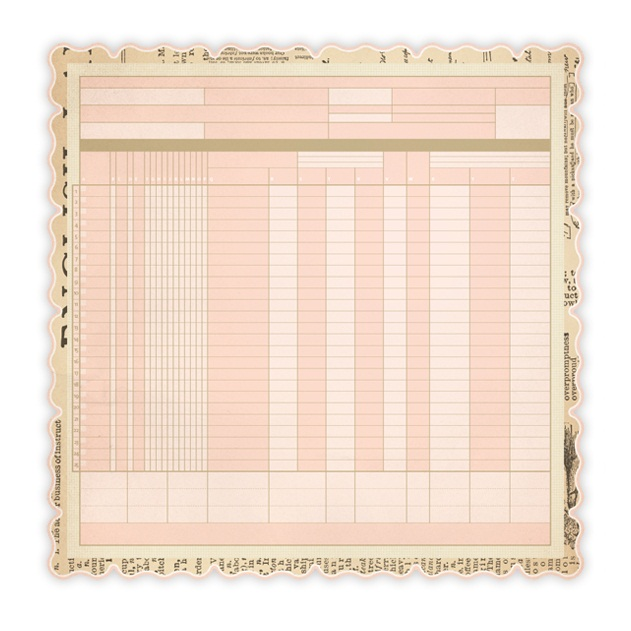 Бумага для скрапбукинга с фигурным краем DieCut Ledger Pink 30х30 см от Studio Calico