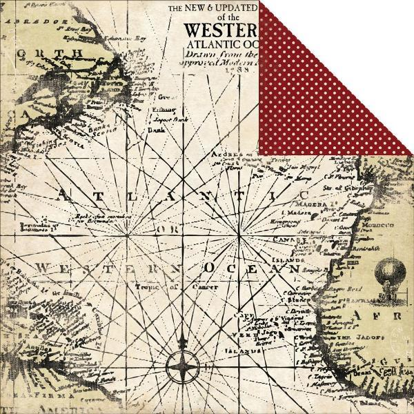 Двусторонняя бумага Antique Map 30х30 см от Carta Bella