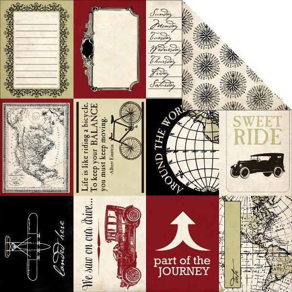 Двусторонняя бумага Travel Cards 30х30 см от Carta Bella