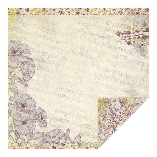 Двусторонняя бумага Floral Design Over Music 30х30 см от Authentique Paper