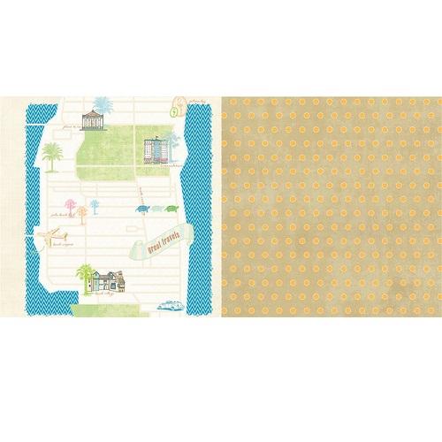 Двусторонняя бумага Great Travels 30х30 см от Webster's Pages.