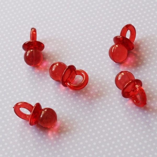 """Акриловая подвеска """"Соска"""" красного цвета, 20х10х10 мм"""