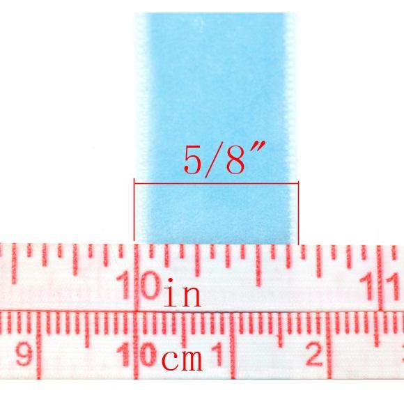 Вельветовая ленточка голубого цвета, ширина 16 мм, длина 90 см