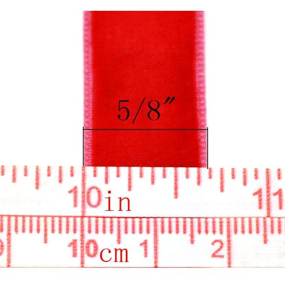 Вельветовая ленточка красного цвета, ширина 16 мм, длина 90 см
