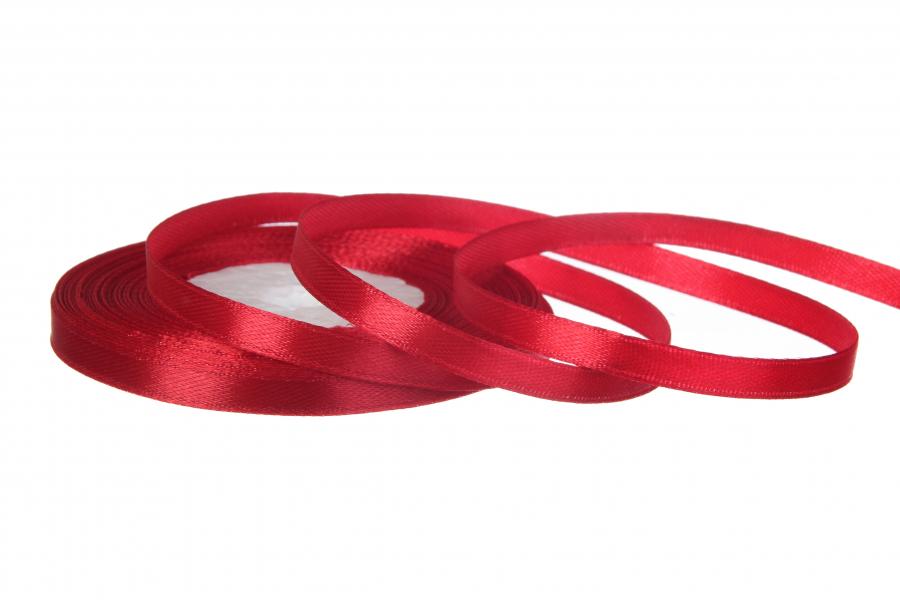 Атласная лента, рулон, #26, красный, 7 мм, 23 м
