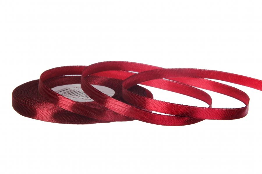 Атласная лента, рулон, #48, марсала, 7 мм, 23 м