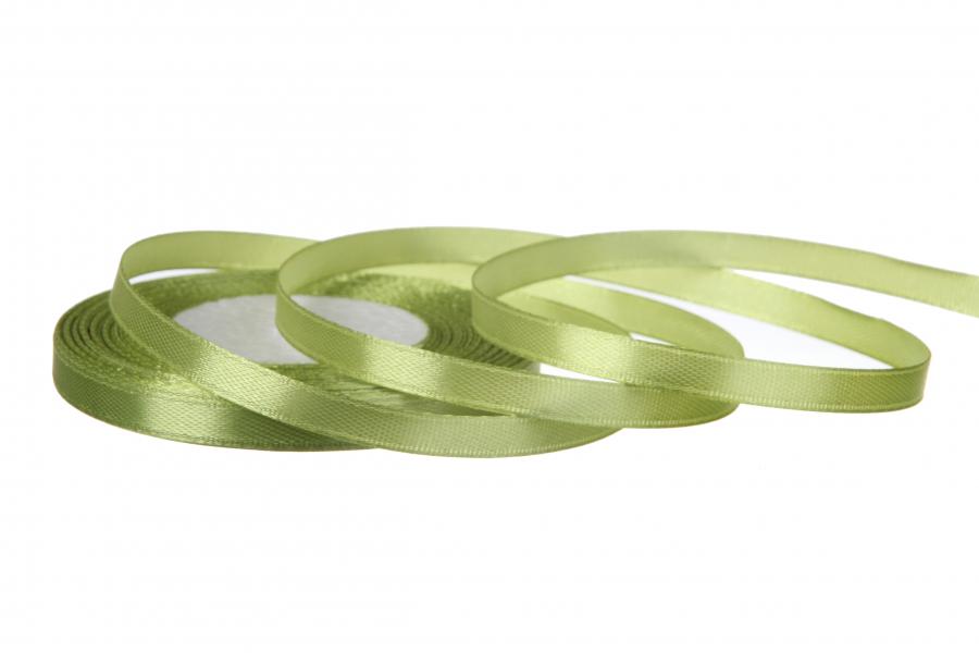 Атласная лента, рулон, #109, зеленый, 7 мм, 23 м