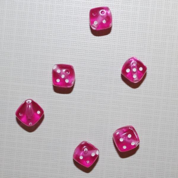 """Акриловая бусина """"Кубик"""" ярко-розового цвета, 5 шт"""