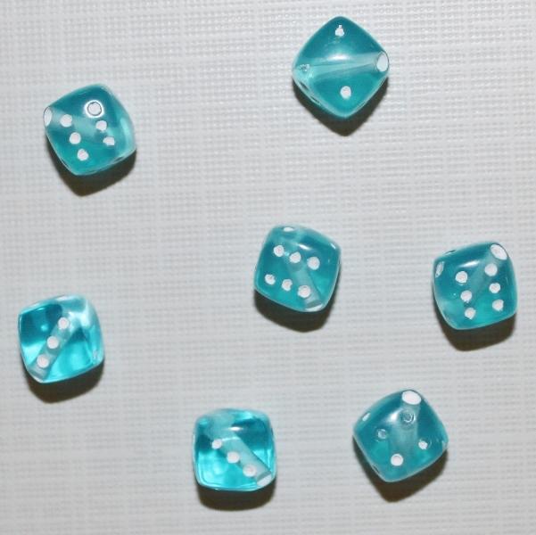 """Акриловая бусина """"Кубик"""" голубого цвета, 5 шт"""