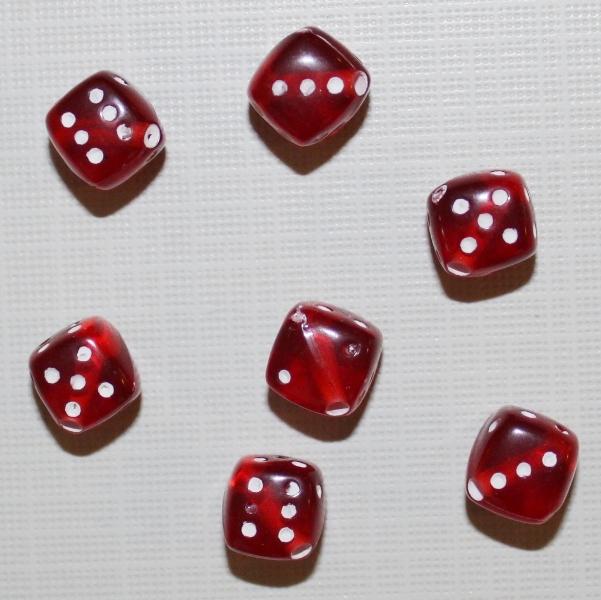 """Акриловая бусина """"Кубик"""" бордового цвета, 5 шт"""