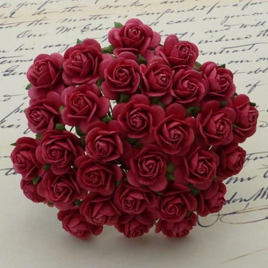 Набор 5 декоративных бумажных роз Coral Red, 25 мм