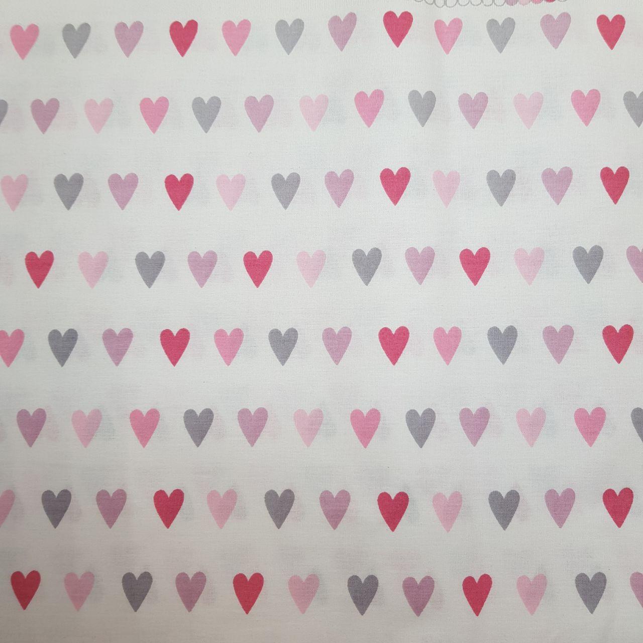 Бязь Розовые сердечки хлопок, размер 50х60 см