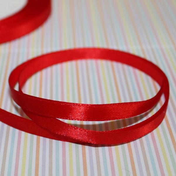 Атласная лента красного цвета, длина 1 м, ширина 6 мм