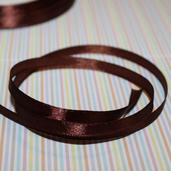 Атласная лента коричневого цвета, длина 1 м, ширина 6 мм