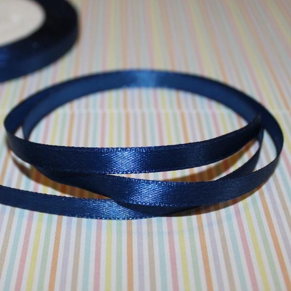 Атласная лента синего цвета, длина 1 м, ширина 6 мм