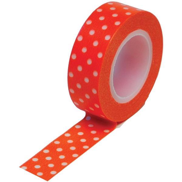 Бумажный скотч Polka Dot Orange 9 м, 15 мм от компании Queen and Co
