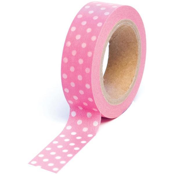Бумажный скотч Polka Dot Pink 9 м, 15 мм от компании Queen and Co