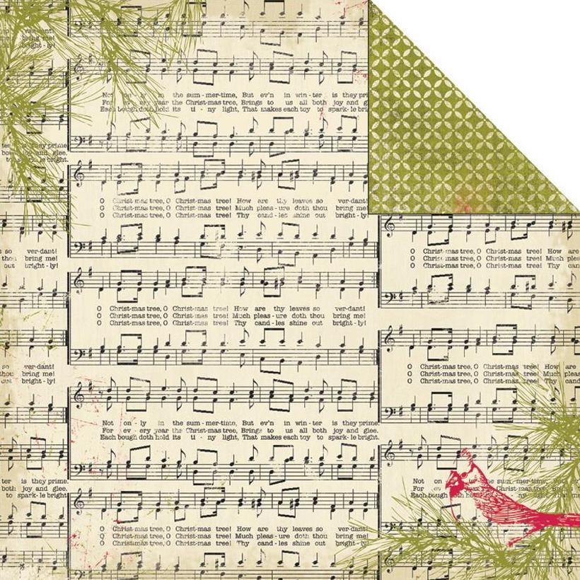 Двусторонняя бумага Yuletide-Music Notes 30х30 см от Authentique Paper