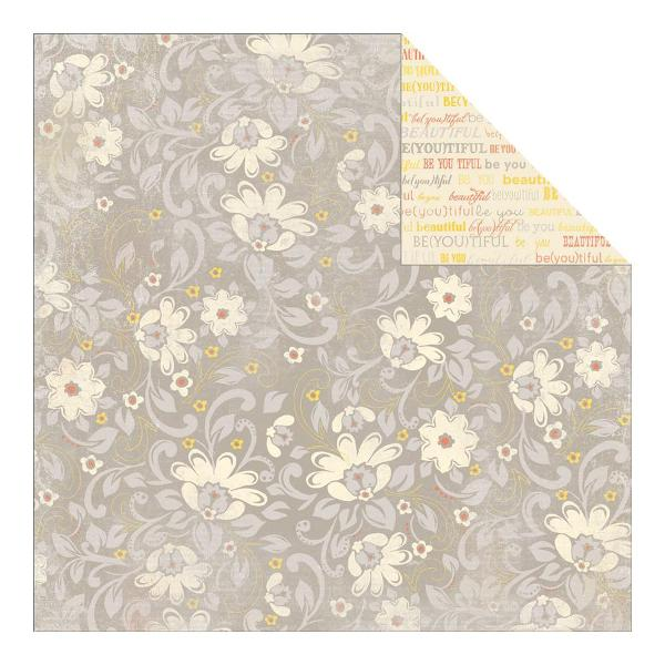 Двусторонняя бумага Expressed Gray Floral 30х30 см от Authentique Paper