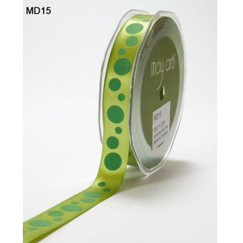 Атласная лента Bubble Dots зеленого цвета от May Arts, 16 мм, 90 cм