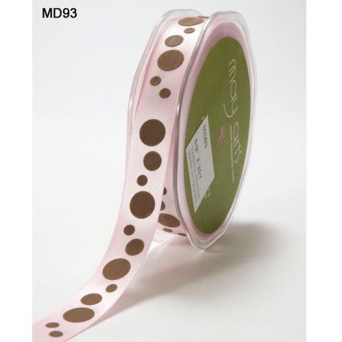 Атласная лента Bubble Dots розового и коричневого цветов от May Arts, 16 мм, 90 cм
