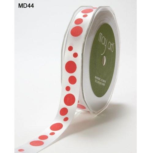 Атласная лента Bubble Dots белого и красного цветов от May Arts, 16 мм, 90 cм