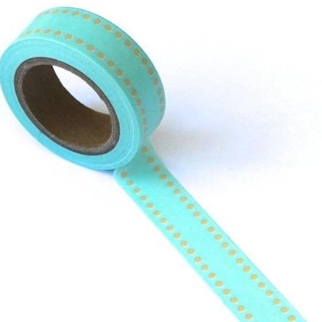 Бумажный скотч Line Dots Blue/Brown 10 м, 15 мм от компании Eyelet Outlet