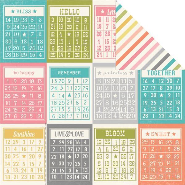 Двусторонняя бумага Bingo Cards 30х30 см от компании Simple Stories