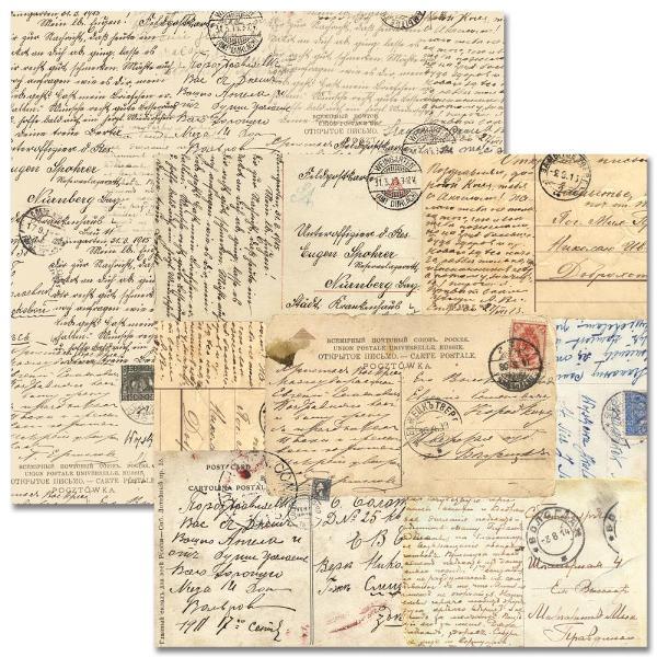 Двусторонняя бумага Postcards 30х30 см от Teresa Collins
