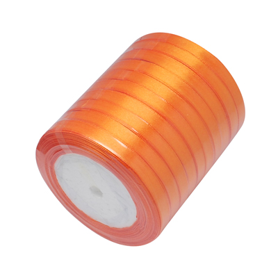 Атласная лента нежного оранжевого цвета, ширина 10 мм, длина 90 см