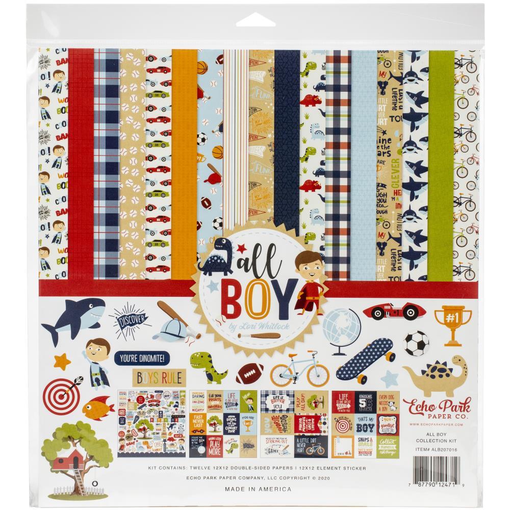 Набор бумаги для скрапбукинга All boy, 12 листов + наклейки, 30х30 см, Echo Park