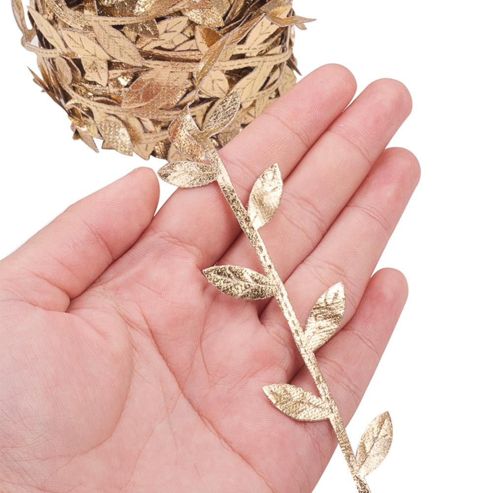 Декоративная тесьма, Листья, золото, 30 мм, 90 см